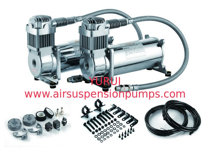 DUAL Pack Air Ride Suspension Compressor For Trucks , Heavy Duty Air Compressor